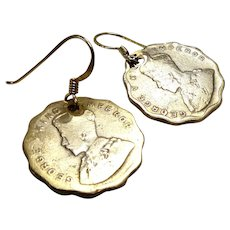 Vintage Commonwealth Indian Coins - 1926, 1930 - Drop Earrings