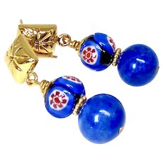 Blue Lapis, Venetian Glass, 18k Gold Vermeil Earrings