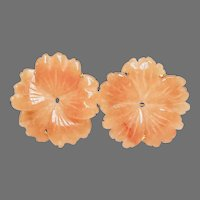 Peach Aventurine Flower Button Earrings