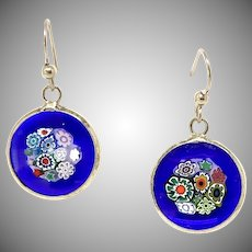 Murano Millefiori Glass From Venice Drop Earrings