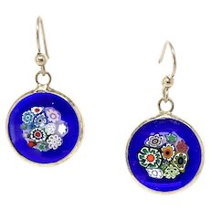 Murano Millifiori Glass From Venice Drop Earrings