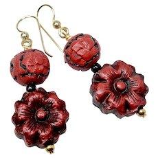 Carved Antiqued Red Cinnabar Flower Drop Earrings