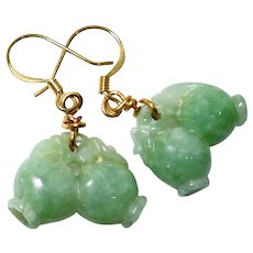 Carved Natural Green Jade Peaches Drop Earrings