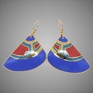 Vintage Laurel Burch Tribal Drop Earrings
