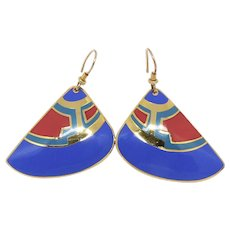 Vintage Laurel Burch Tribal Drop Earrings
