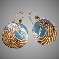 Vintage Laurel Burch Nile Bird Drop Earrings
