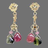 Rainbow Tourmaline Drop Earrings