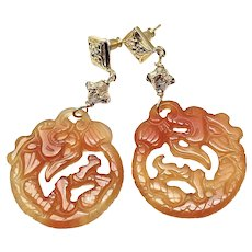 Carved Carnelian Agate Dragon Drop Earrings