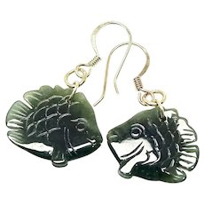 Green Burmese Jade Fish Drop Earrings