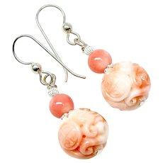 Carved Pink Angel Skin Coral Drop Earrings