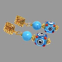 Turquoise & Glass Lamp Work Eye Bead Drop Earrings