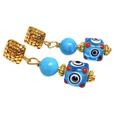 Turquoise & Glass Lamp Work Eye Bead Drop Earrings