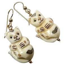 Carved and Etched Bone Cat Drop Earrings