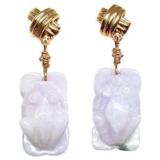 Carved Rare Lavender Jade Frog Drop Earrings