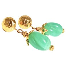 VIntage Green Twisted Glass Drop Earrings