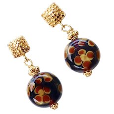 Translucent Glass Flower Drop Earrings