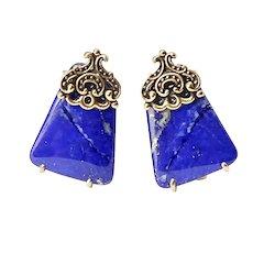 Blue Lapis Button Earrings