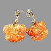 Large Natural Orange Carved Carnelian Agate Butterfly Drop Earrings
