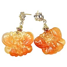 Large Natural Orange Carved Carnelian Agate Butterfly Drop Earrings
