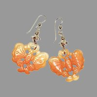 Carved Carnelian Butterflies Drop Earrings