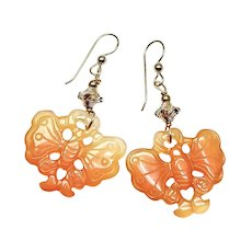 Carved Carnelian Butterflies Drop Earrings
