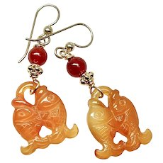 Carved Carnelian Double Fish Drop Earrings