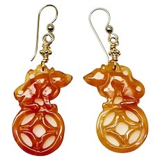 Carved Carnelian Agate Mouse/Rat Drop Earrings