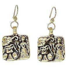 Vintage Indian Elephant God Ganesha, and Goddess 18k Gold Vermeil Drop Earrings