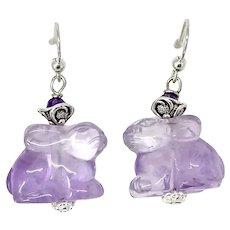 Purple Amethyst Rabbit Drop Earrings