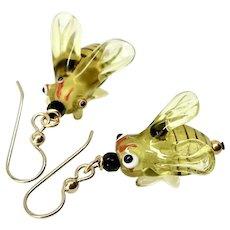 Glass Lamp Work Bumble Bee Drop Earrings