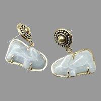 Vintage Carved Blue Jade Rabbit Drop Earrings