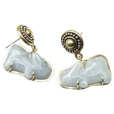 Vintage Carved Blue Jade Rabbit Drop Earrings