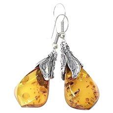 Vintage Baltic Amber Nugget Drop Earrings