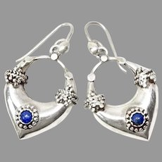 Vintage Indonesian Silver and Lapis  Drop Earrings