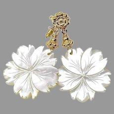 Vintage White Mother of Pearl Drop Earrings