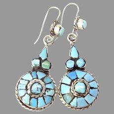 Vintage Tibetan Inlaid Turquoise Drop Earrings