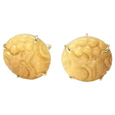 Carved Golden Jade Lotus Button Earrings