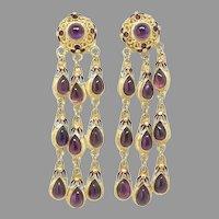 Vintage Chinese Amethyst, Enameled Chandelier Drop Earrings