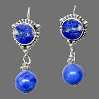 Indonesian Silver and Lapis Drop Earrings