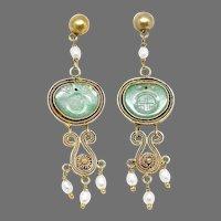 Vintage Chinese Apple Green Jadeite, Gold Vermeil Filigree and Pearls Drop Earrings