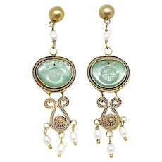 Vintage Chinese Apple Green Jadeite, Gold Vermeil Filigree and Pearls Drop Earrings