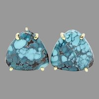 Natural Chinese Turquoise Button Earrings