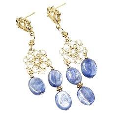 Iridescent Blue Kyanite Chandelier Drop Earrings