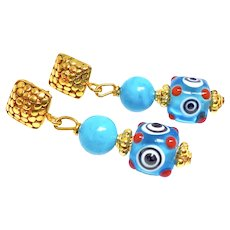 Chinese Turquoise and Turquoise Glass Eye Bead Drop Earrings