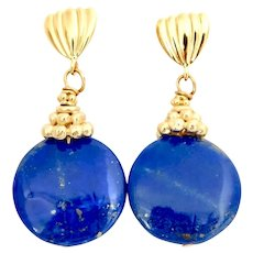 Blue Lapis Lazuli Disk Drop Earrings