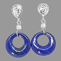 Blue Lapis Lazuli Disk Drop Earrings Sterling Silver