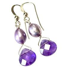 Faceted Amethyst Teardrop, Pearl Drop Earrings