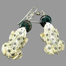 Carved and Etched Bone Frog Drop Earrings