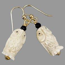 Carved Bone Owls, Faceted Black Onyx Drop Earrings
