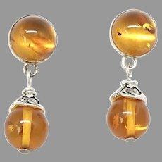 Gorgeous Golden Baltic Amber Drop Earrings